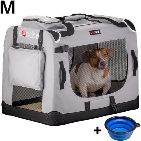 """main image of """"CADOCA - Cage de transport pour animaux domestiques • Gris/noir • pliable • différentes tailles disponibles - sac de transport animaux chien chat rongeur M - 60x42x42cm (de)"""""""