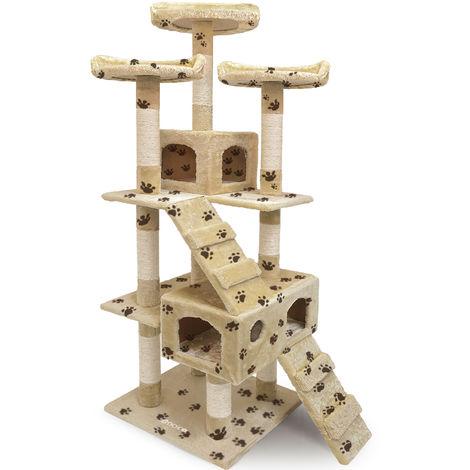 CADOCA Cat Scratching Tree Post 175cm Activity Centre 6FT Toy Scratcher Kitten Climbing