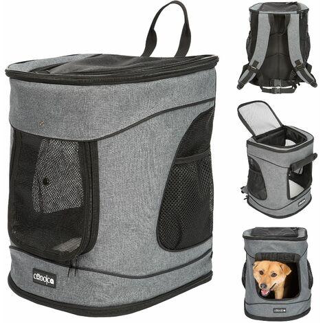Cadoca Mochila Transportín para Perro Gato bolsa para mascotas carga máx. 12Kg para viajes en tren coche color Gris Negro