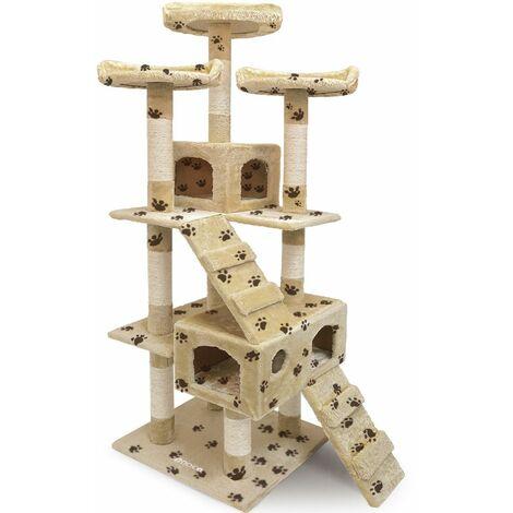 CADOCA® Rascador para gatos de 175 cm con tres plataformas - beige con huellas