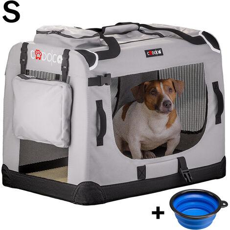 Cadoca Transportín de mascotas perros gatos bolsa de transporte plegable en S M L XL XXL color Gris con bolsillos exteriores manta para coche
