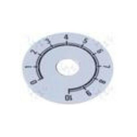 Cadran de contrôle numéroté sur une échelle de 0 à 10, diamètre 41mm Couleur du fond argent 220.101