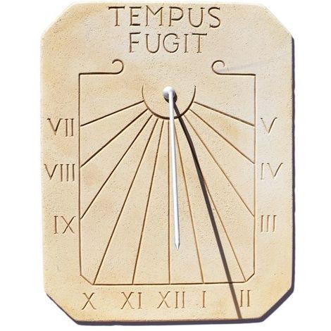 "main image of ""Cadran solaire vertical en pierre - motif Tempus Fugit"""