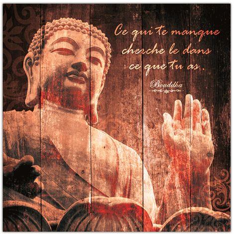 Cadre Bouddha - 40 x 40 cm - Ce qui te manque cherche - Marron