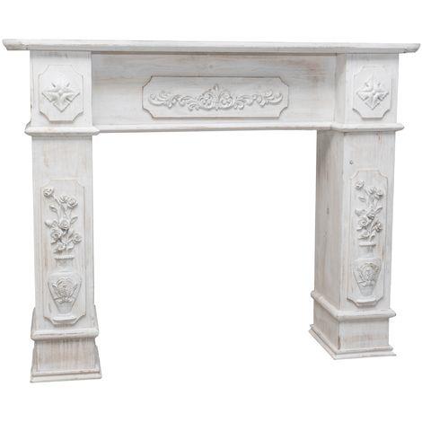 Cadre cheminée en bois finition blanche vieillie aux dimensions L121xPR28xH96 cm