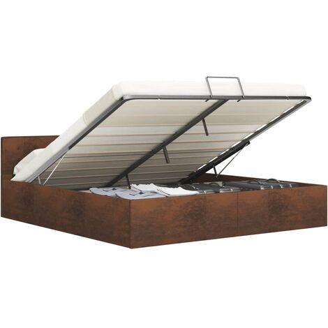 Cadre de lit à rangement hydraulique Marron Tissu 180x200 cm