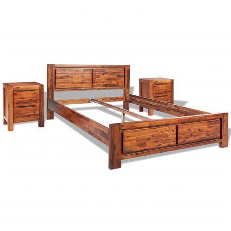 Cadre de lit avec armoires Acacia massif Marron 180 x 200 cm