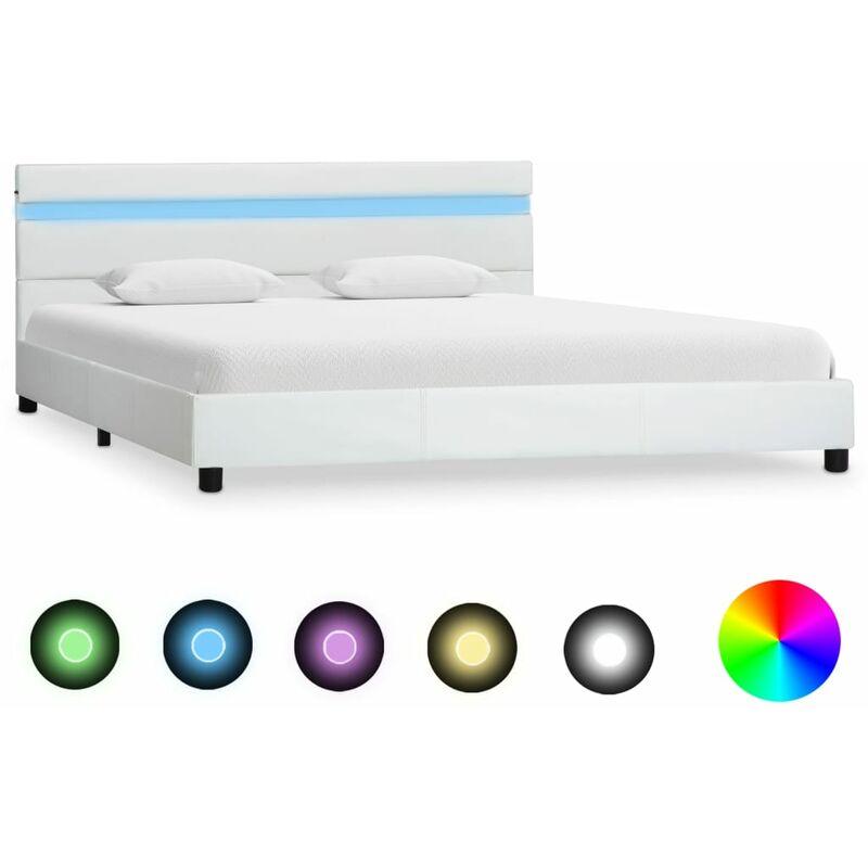 vidaXL Cadre de Lit avec LED Lit Rembourr/é Lit Double Lit Adulte Lit Coffre Sommier /à Lattes Chambre /à Coucher Maison Int/érieur Noir Similicuir 180x200 cm