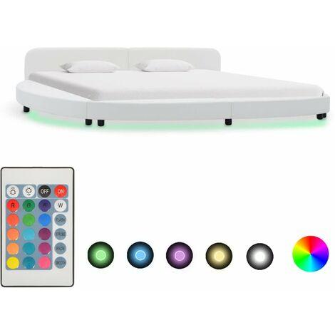 Cadre de lit avec LED Blanc Similicuir 180 x 200 cm