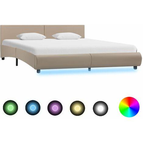 Cadre de lit avec LED Cappuccino Similicuir 180x200 cm