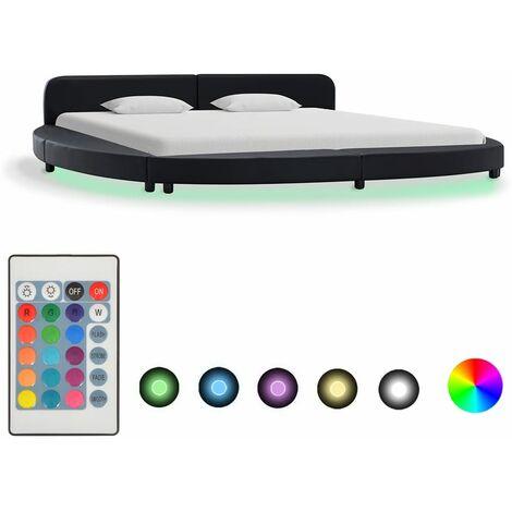 Cadre de lit avec LED Noir Similicuir 180 x 200 cm