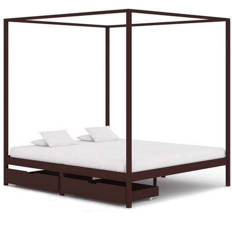 Cadre de lit baldaquin et 2 tiroirs Marron foncé Pin 160x200 cm