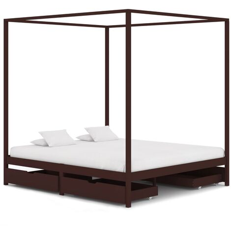 Cadre de lit baldaquin et 4 tiroirs Marron foncé Pin 160x200 cm