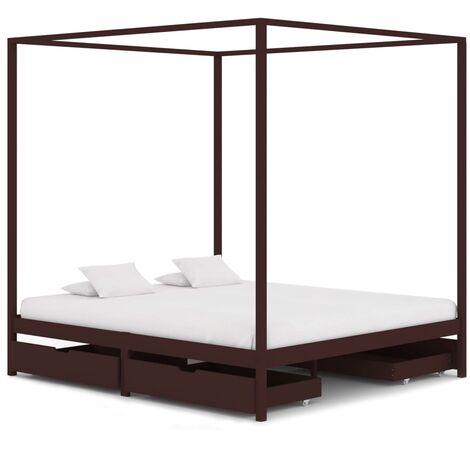 Cadre de lit baldaquin et 4 tiroirs Marron foncé Pin 180x200 cm