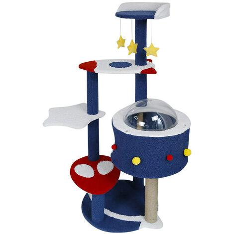 Cadre d'escalade pour chat Capsule spatiale Litière pour chat Arbre à chat Colonne d'escalade pour chat multicouche(C
