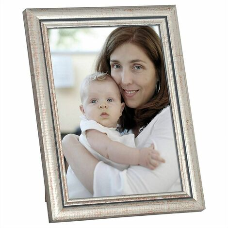cadre photo en bois et réelle lentille en verre avec de l'argent de style Artos A4 21x29,7cm (ensemble de 5)