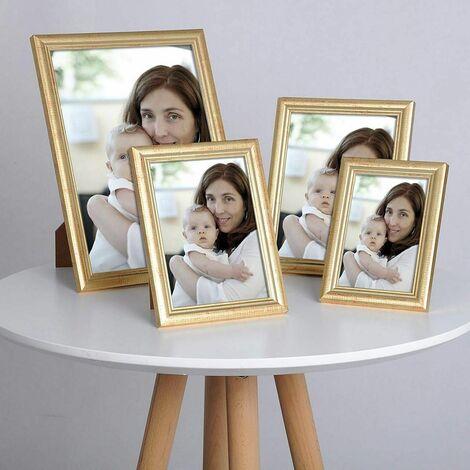cadre photo en bois et réelle lentille en verre avec de l'or de style Artos A4 21x29,7cm (ensemble de 5)