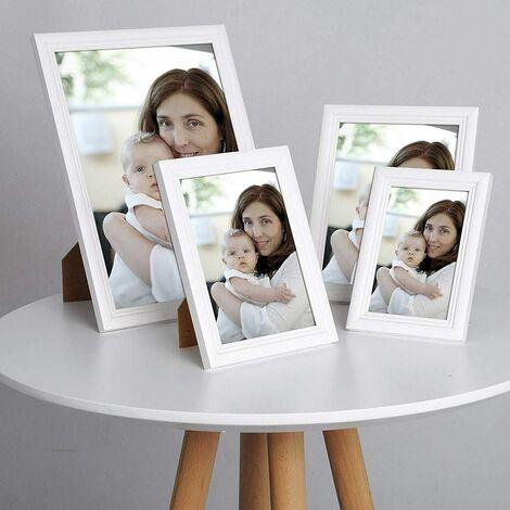 cadre photo en bois et réelle lentille en verre avec un style Artos 21x29,7cm A4 blanc (ensemble de 5)