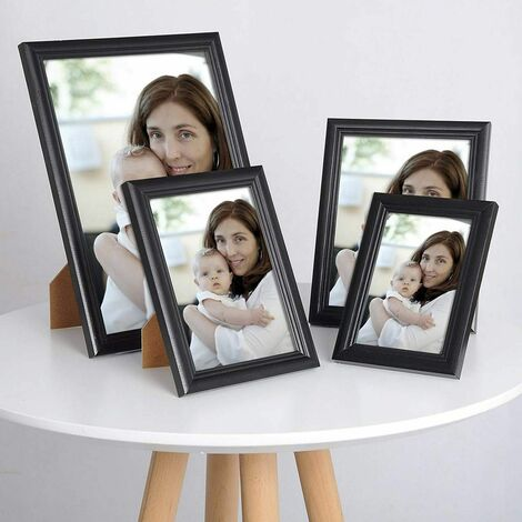 cadre photo en bois et réelle lentille en verre avec un style Artos noir A4 21x29,7cm (ensemble de 5)