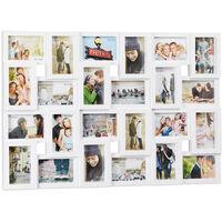 Cadre photos pêle-mêle 24 photos Galerie mur cadre mural 9x13 collage vertical horizontal Hxl 57x86 cm, blanc