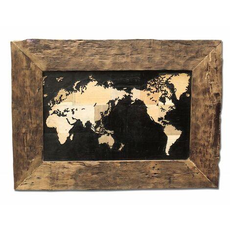 Cadre tableau mappemonde en teck - WORLD - Bois
