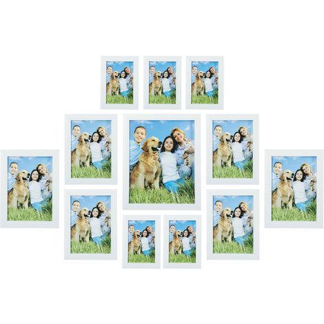 Cadres photo, lot de 12, différentes tailles 15x10, 18x13, 20x15, 25x20 cm, mur, picture frame, blanc