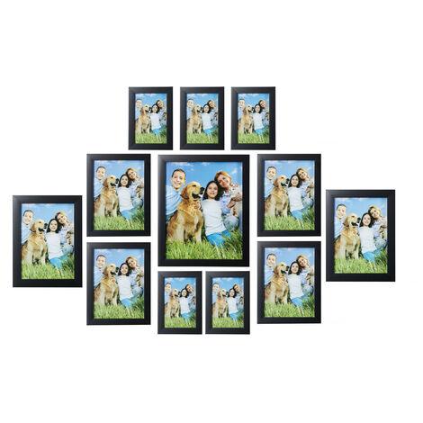 Cadres photo, lot de 12, différentes tailles 15x10, 18x13, 20x15, 25x20 cm, mur, picture frame, noir