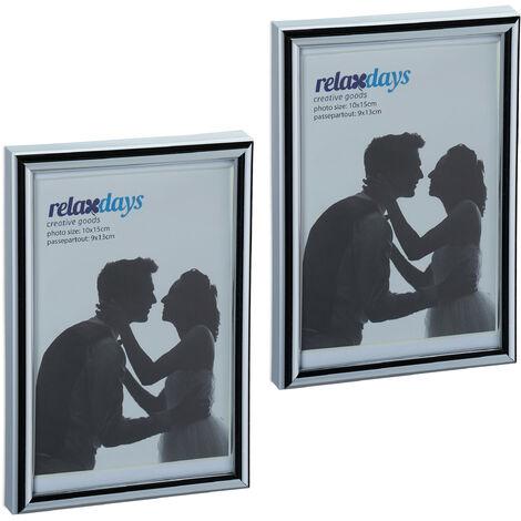 Cadres photo, lot de 2, 10x15 cm, passe-partout 9x13 cm, picture frame à poser ou suspendre, argenté