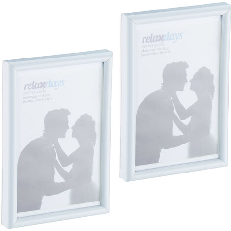 Cadres photo, lot de 2, 10x15 cm, passe-partout 9x13 cm, picture frame à poser ou suspendre, blanc