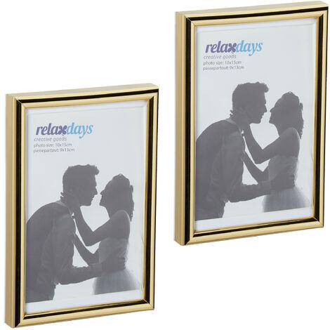 Cadres photo, lot de 2, 10x15 cm, passe-partout 9x13 cm, picture frame à poser ou suspendre, doré
