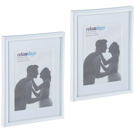 Cadres photo, lot de 2, 13x18 cm, passe-partout 9x13 cm, picture frame à poser ou suspendre, blanc