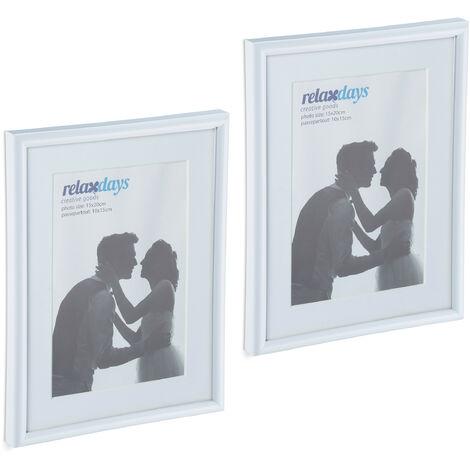 Cadres photo, lot de 2, 15x20 cm, passe-partout 10x15 cm, picture frame à poser ou suspendre, blanc
