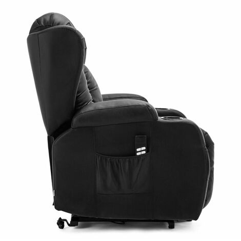 CAESAR DUAL MOTOR RISER RECLINER WINGED LEATHER ARMCHAIR MASSAGE HEATED LOUNGE MOBOLITY CHAIR - different colors available