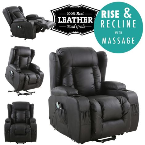 CAESAR ELECTRIC RISE LEATHER RECLINER MASSAGE ROCKING SWIVEL HEATED WING CHAIR - different colors available