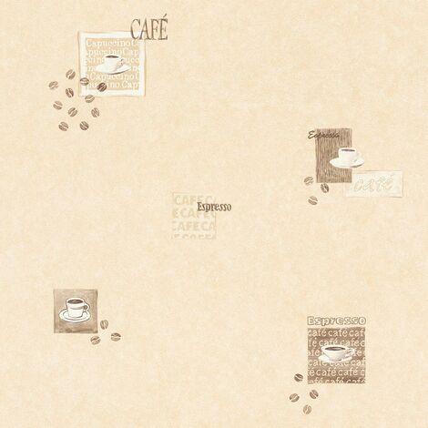Cafe Wallpaper Rasch Kitchen Textured Cream Brown Beige