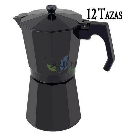 Cafetera aluminio negro de inducción 12 tazas