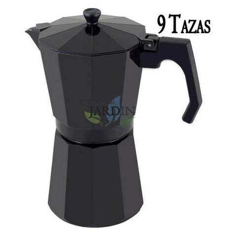 Cafetera aluminio negro de inducción 9 tazas