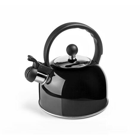 Cafetera silbante negra de acero inoxidable Ibili