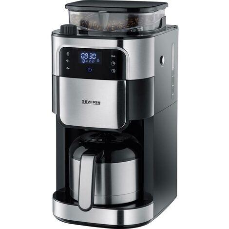 Cafetière Severin Filterkaffeemaschine mit Mahlwerk und Edelstahl-Thermokanne, 4814 Nombre de tasse: 8 noir, acier inoxydable (brossé) 1 pc(s)