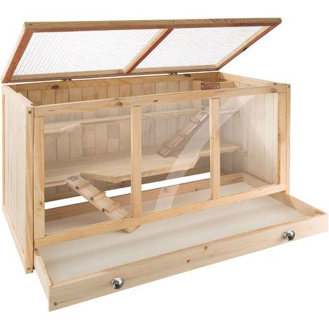 Cage à Hamster Cochon d'Inde Lapin Petits Rongeurs 2 Etages en Bois de Pin 95 cm x 50 cm x 50 cm