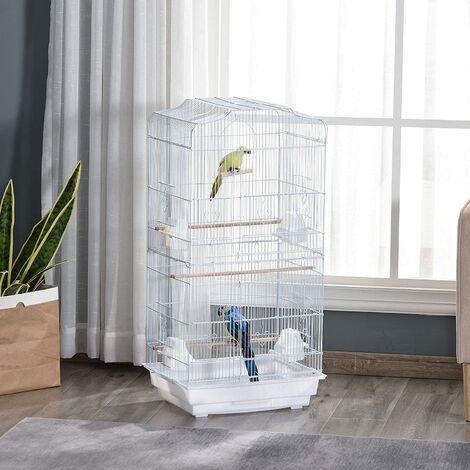 Cage à oiseau portable - Hauteur 92cm - Grande Volière en métal - Blanc