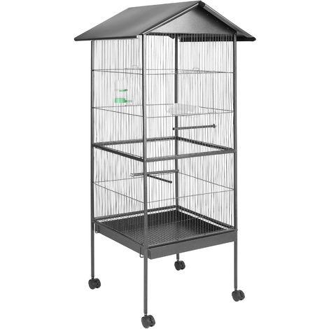 Cage à oiseaux Argentée 162 cm de haut + Mangeoire + Perchoirs