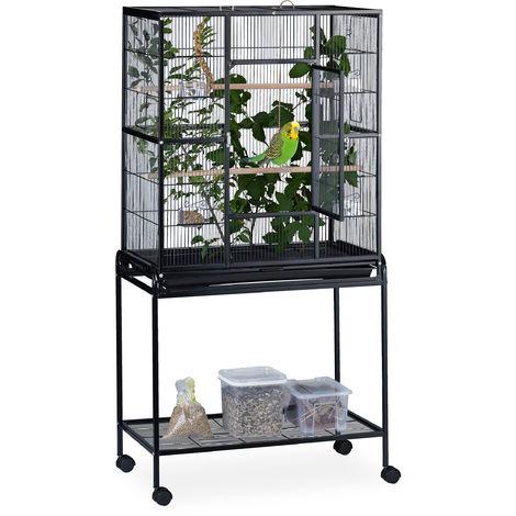 Cage à oiseaux avec étagère, volière à roulettes, pinsons, canaris, perchoir, HLP 160x78x46cm, noir