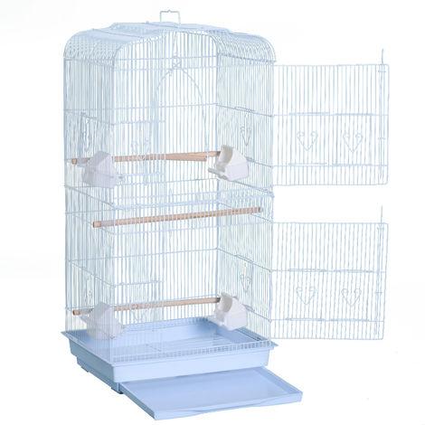 Cage à oiseaux avec mangeoires perchoirs 48 x 36 x 91 cm blanc