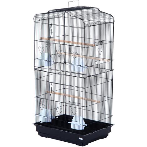 Cage à oiseaux avec mangeoires perchoirs 48 x 36 x 91 cm noir