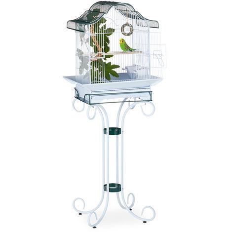 cage à oiseaux avec support, volière, pinsons, canaris, perchoir, HLP 147 x 55 x 50,5 cm, gris-bleu/vert