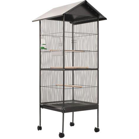 Cage à oiseaux avec toit Gris 66 x 66 x 155 cm Acier