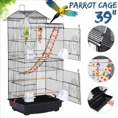 """Cage à oiseaux de 39 """"pour perroquets de taille moyenne perruches perruches perruches conures"""