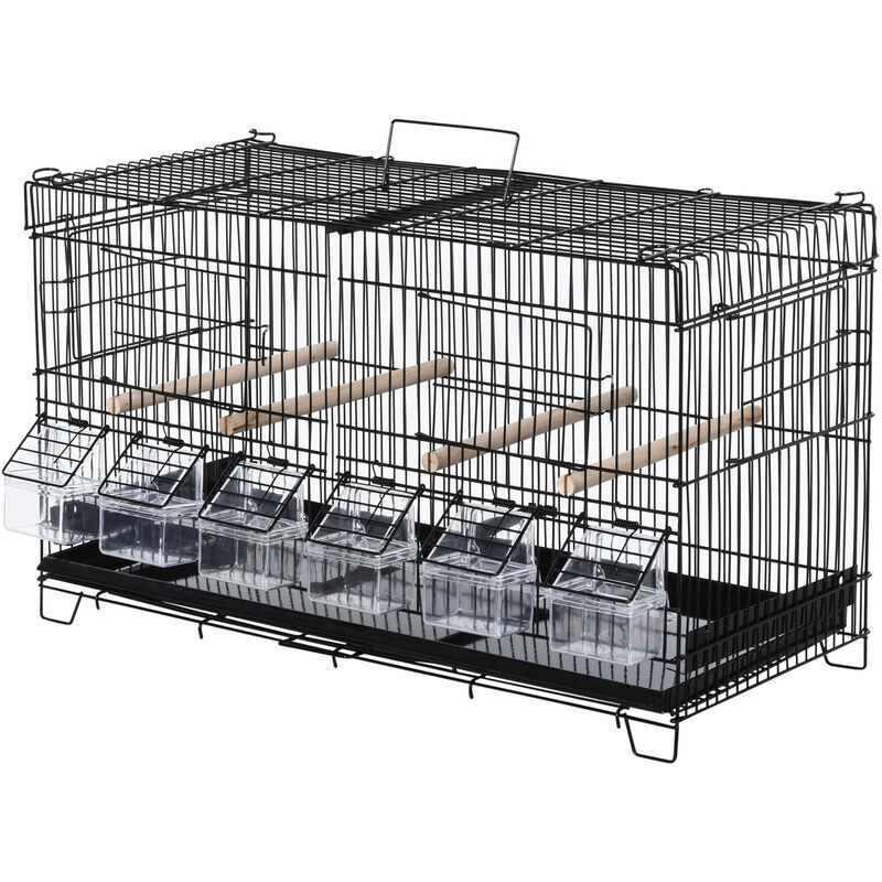 Cage à oiseaux dim. 59,5L x 29,8I x 35,3H cm mangeoires perchoirs 4 portes plateau excrément amovible + poignée transport métal PP noir