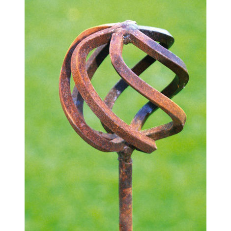 Cage Ball Pinn Large (70mm) Support 4ft (Bare Metal/Natural Rust)